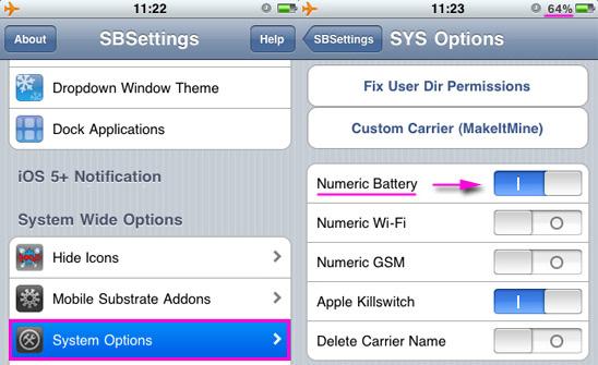 Как сделать зарядку на iphone в процентах