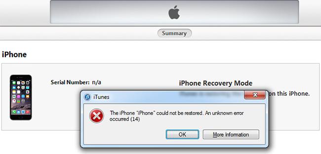 При обновлении айфона произошла ошибка